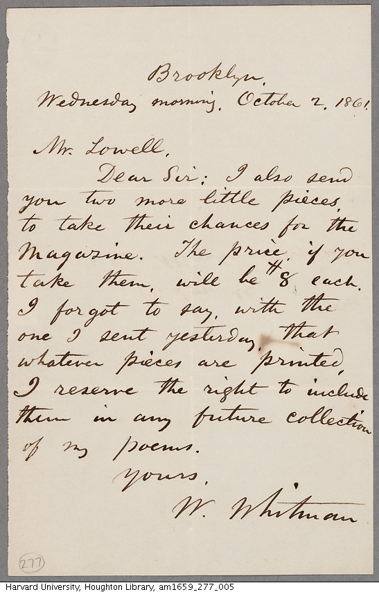 Walt Whitman's submission letter.
